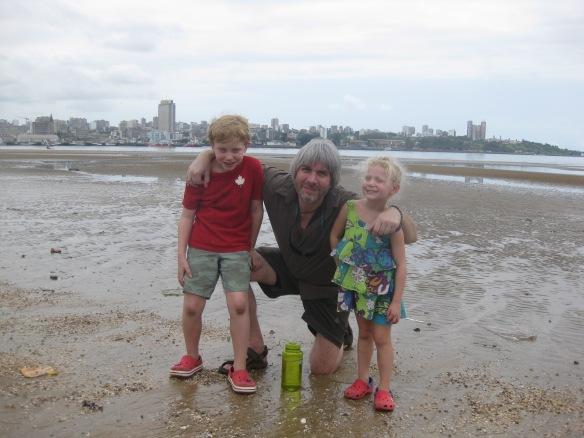Charlotte, Seamus, and I with Maputo in the background